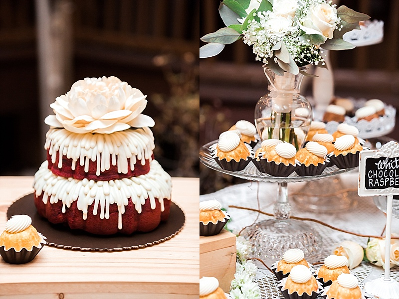New Kent Winery Wedding Reception, Cake, Cupcakes
