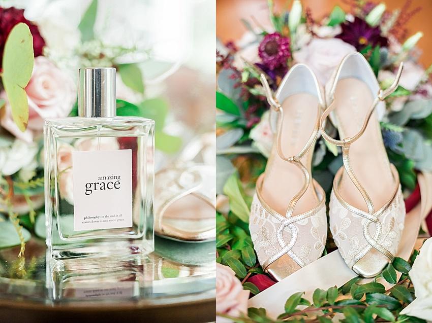 wedding shoes, perfume,