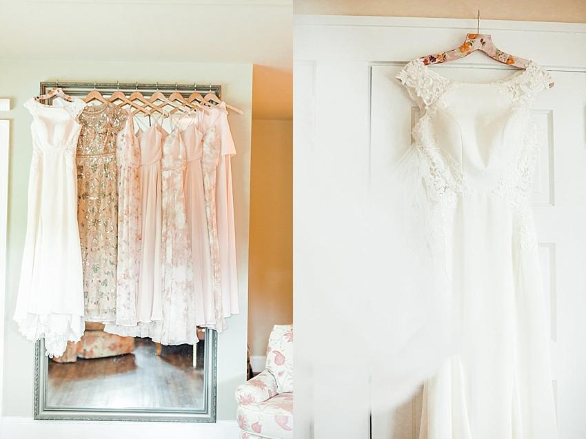 bridal gown, bridesmaids, wooden wedding hangers